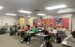 Students sit in class just as they might in a non-COVID year.