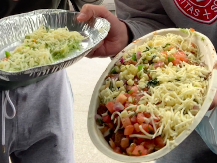 Seniors Michael Paulison and Finn Murphy ordered the biggest burrito bowl possible from Chipotle.