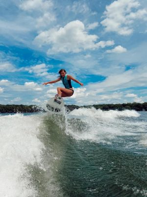 Mergen shreds a wave on Lake Minnetonka.