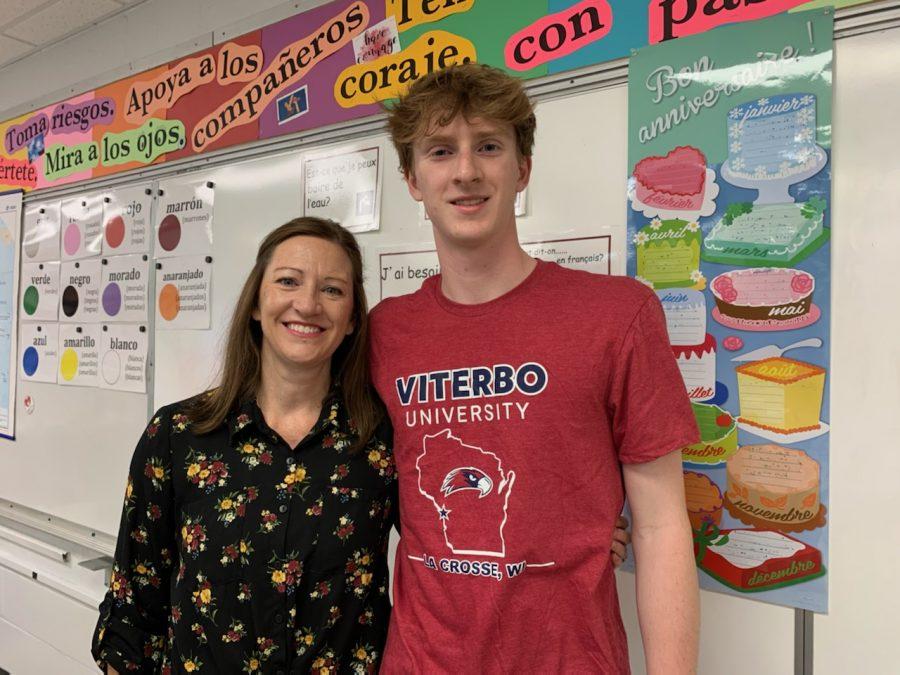 Senior+Charlie+Hansen+with+mom+Mrs.+Megan+Hansen%2C+a+junior+high+Spanish+teacher+at+BSM.