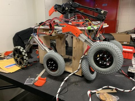 An engineering project sits in the lab, waiting to be showcased at Wednesday night
