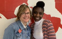 Religion teacher Ms. Michelle Leblanc and in-building sub Ms. Andretta Hanson have a relationship that spans decades.