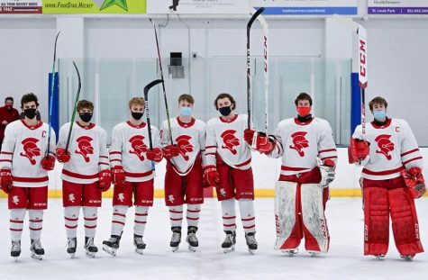 Six BSM seniors pose together before they head off for junior hockey next year.