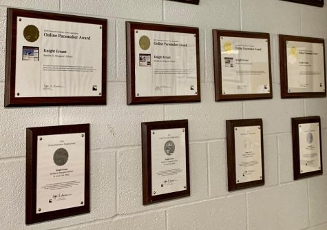 Pacemaker plaques decorate the wall of the Knight Errant classroom.