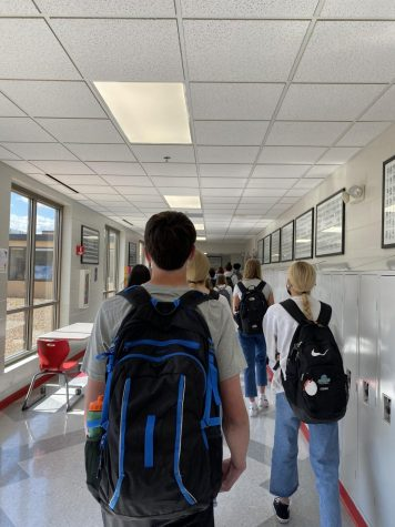Students travel the halls during passing time. Next year