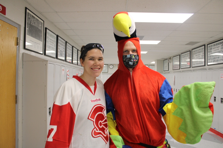 Even on dynamic duos day, Mr. John Groess wears a mask; however, Ms. Abigail Ash does not.